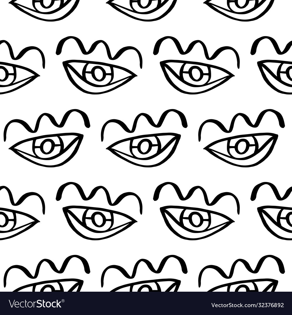 Hand drawn eye doodles seamless pattern