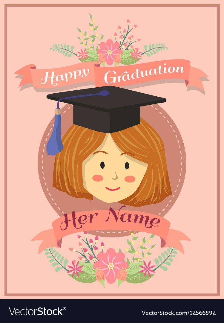 happy graduation girl pink greeting card vector image