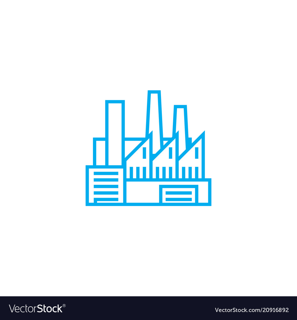 Industrial facility linear icon concept