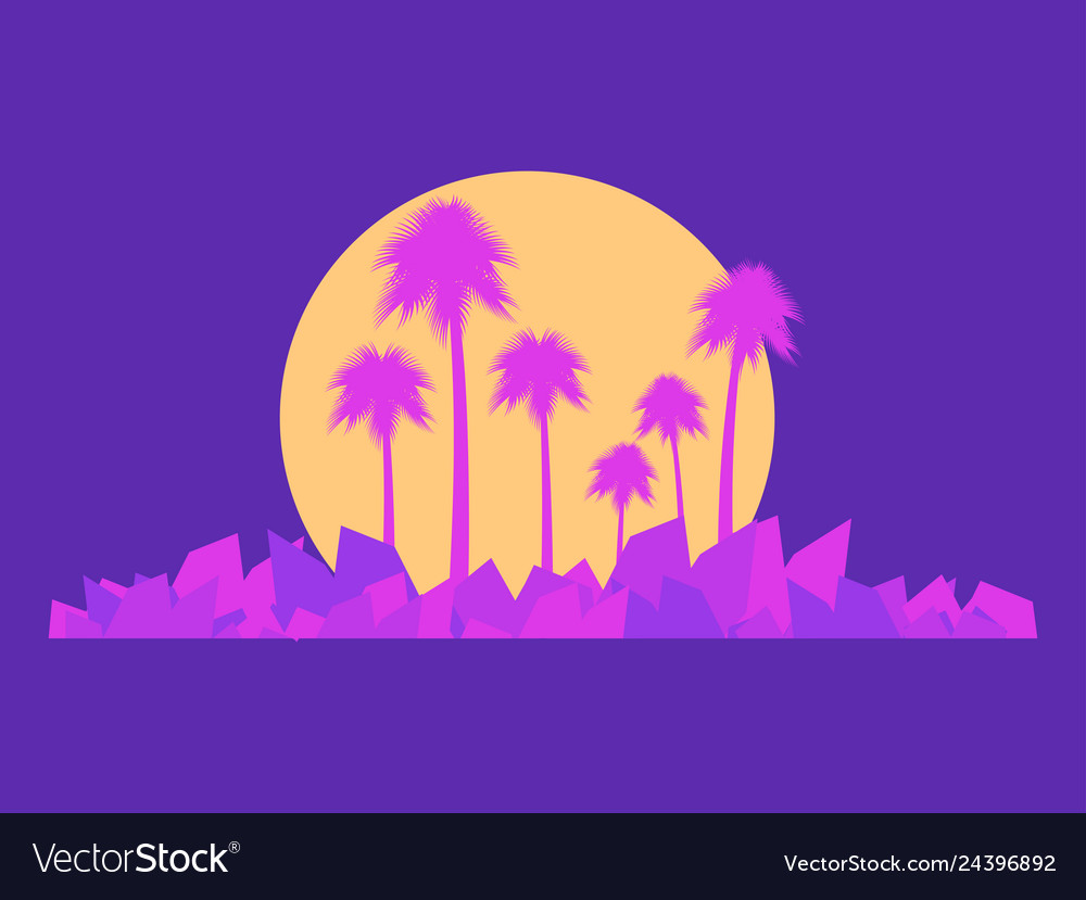 Landscape with palm trees in the style of the 80s