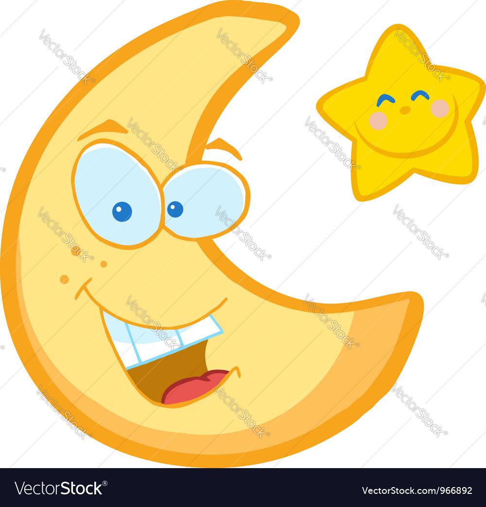 Moon And Star Cartoon Characters vector image
