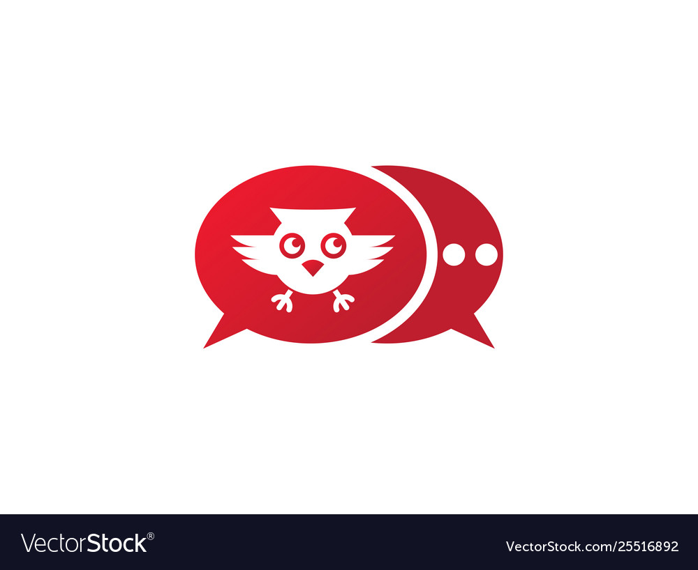 Owl open eyes and fly in a chat icon for logo