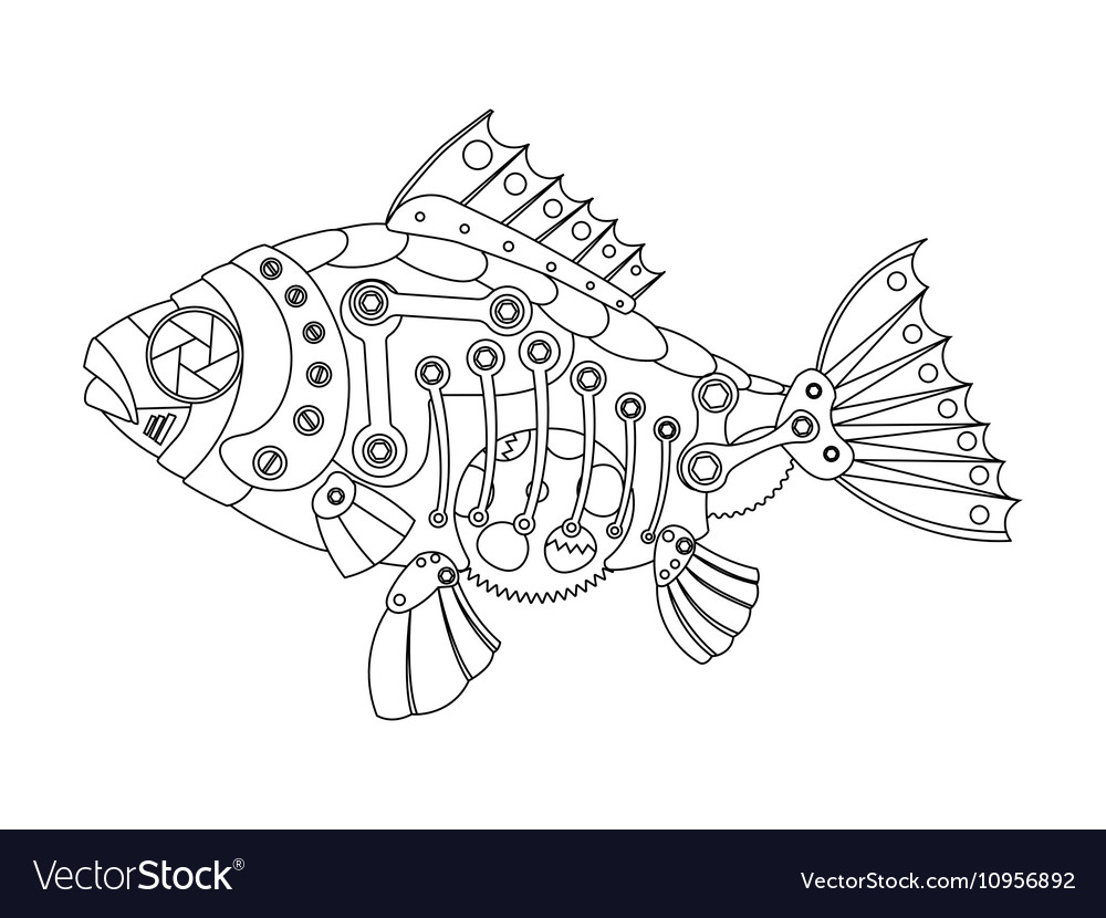Steampunk style fish coloring book Royalty Free Vector Image