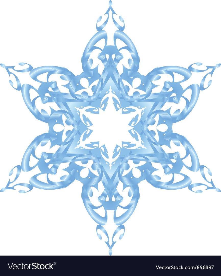Blue ornate snowflake vector image