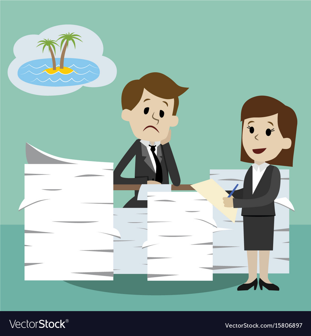 Businessman or manager working and dreaming about vector image