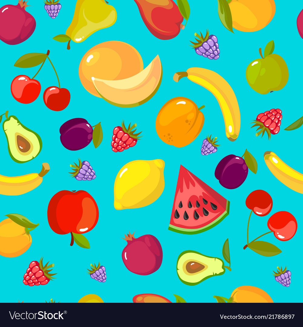 Cartoon fruits pattern colorful seamless