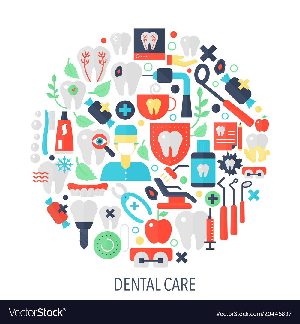 Dental care flat infographics icons in circle