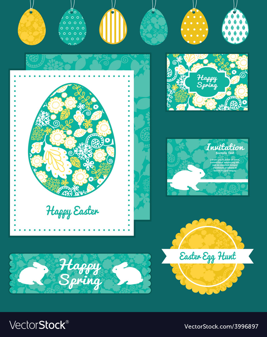 Emerald flowerals set of easter cards royalty free vector emerald flowerals set of easter cards vector image m4hsunfo