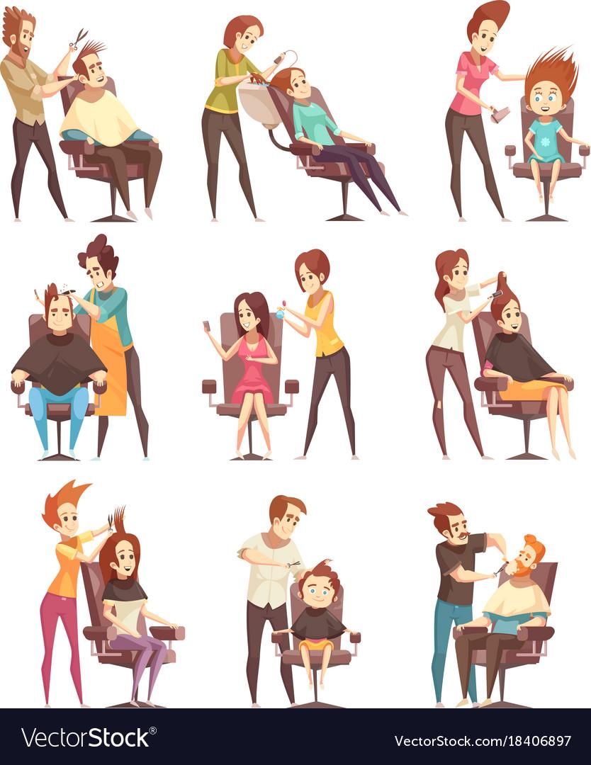 Hair Salon Treatments Cartoon Icons Royalty Free Vector