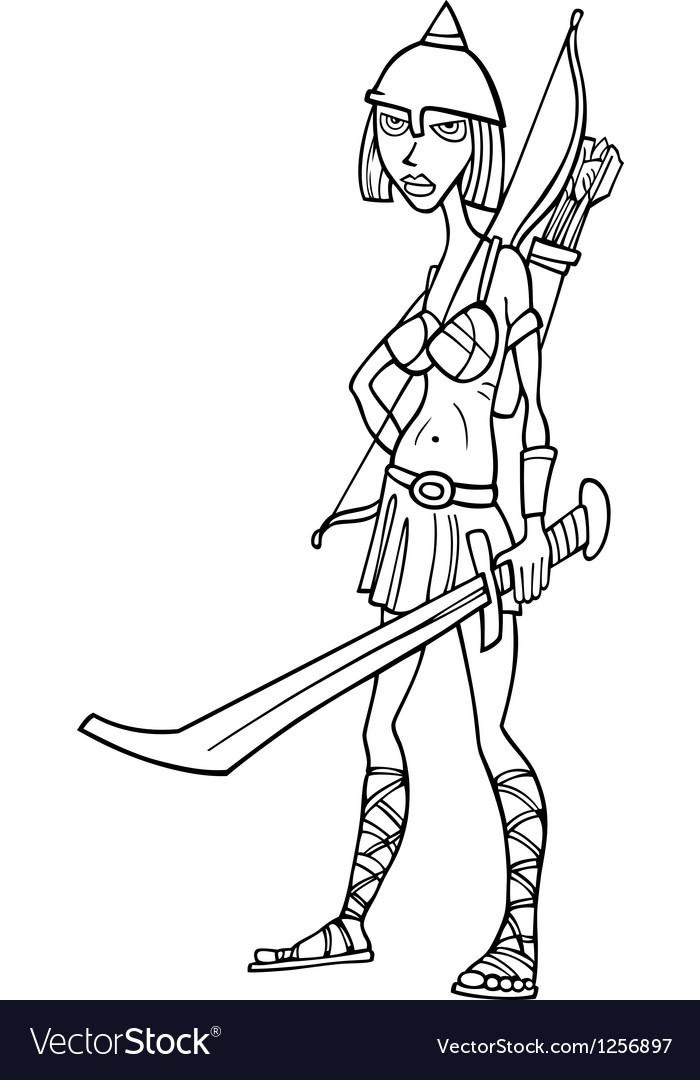 Knight woman cartoon