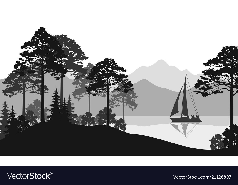 Landscape with ship on lake