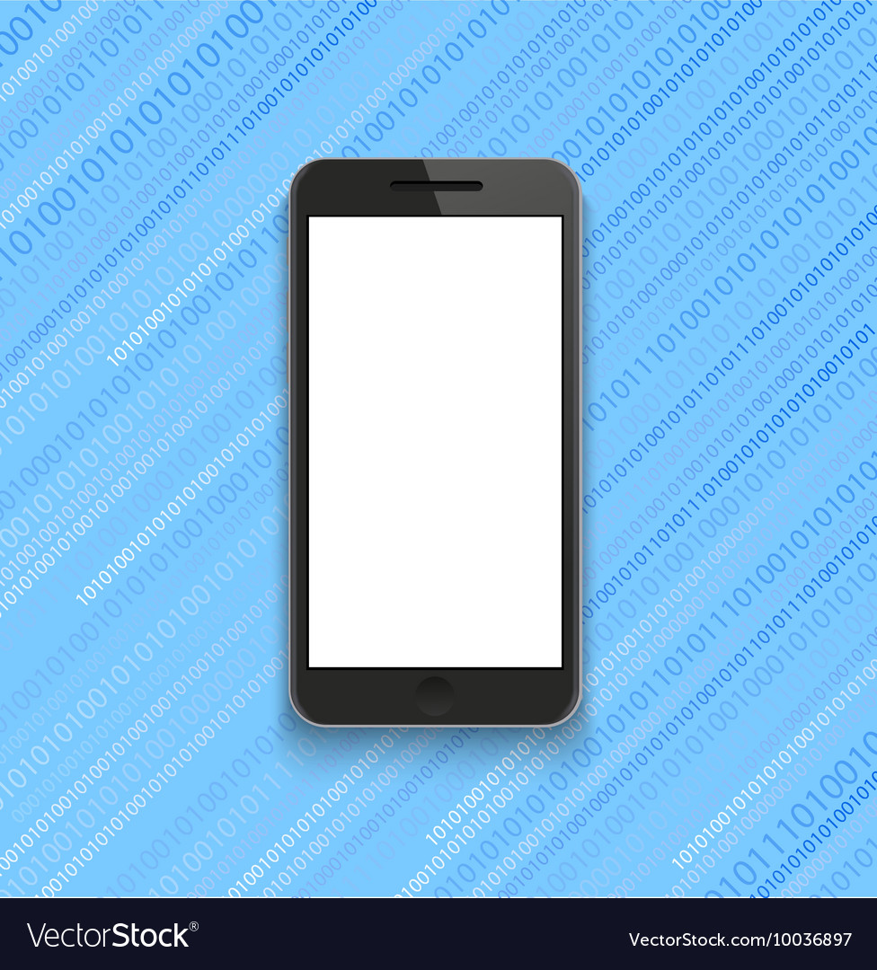 Modern smartphone on binary code background vector image