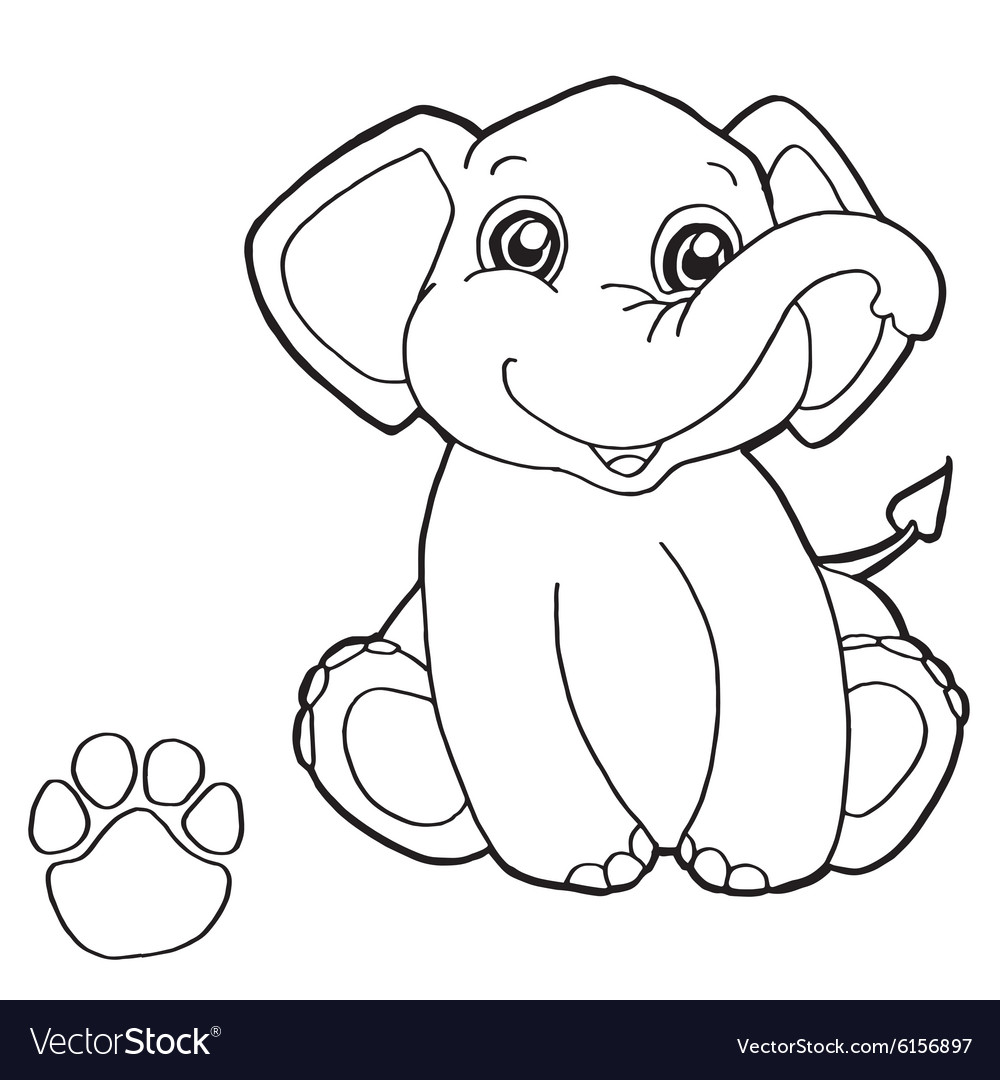 Paw Print With Elephant Coloring Pages Vector Image