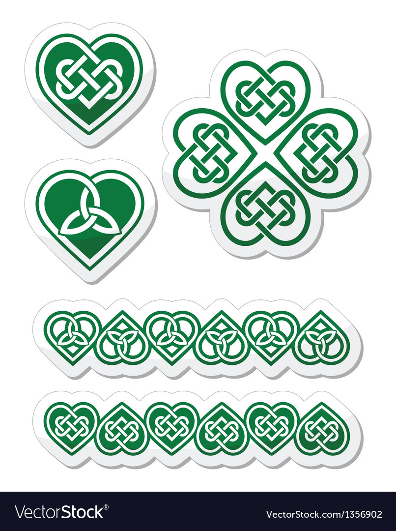 Celtic green heart knot - symbols set
