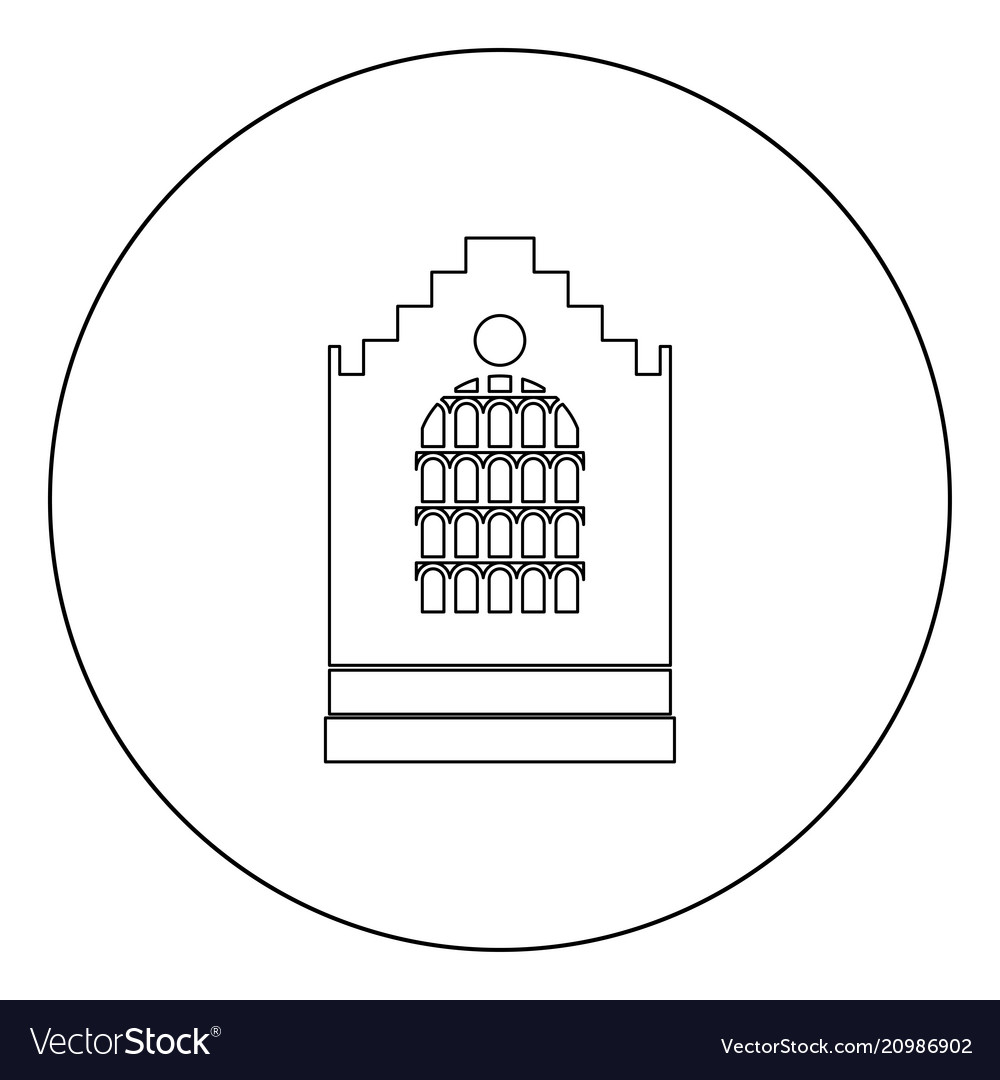 Church building black icon in circle isolated