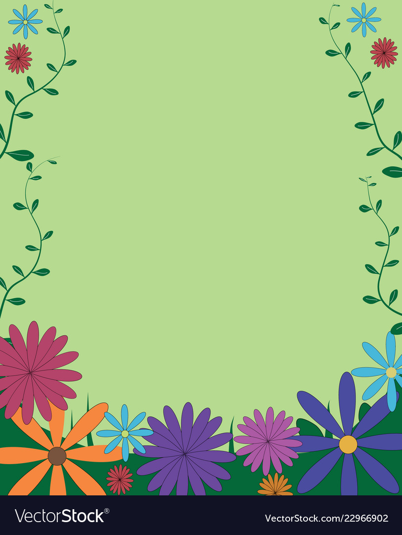 261c9a192dd Decorative funny colorful floral background frame Vector Image