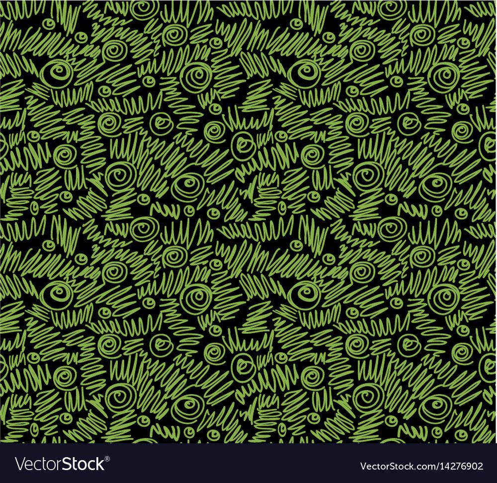 Ecology doodles seamless pattern black background