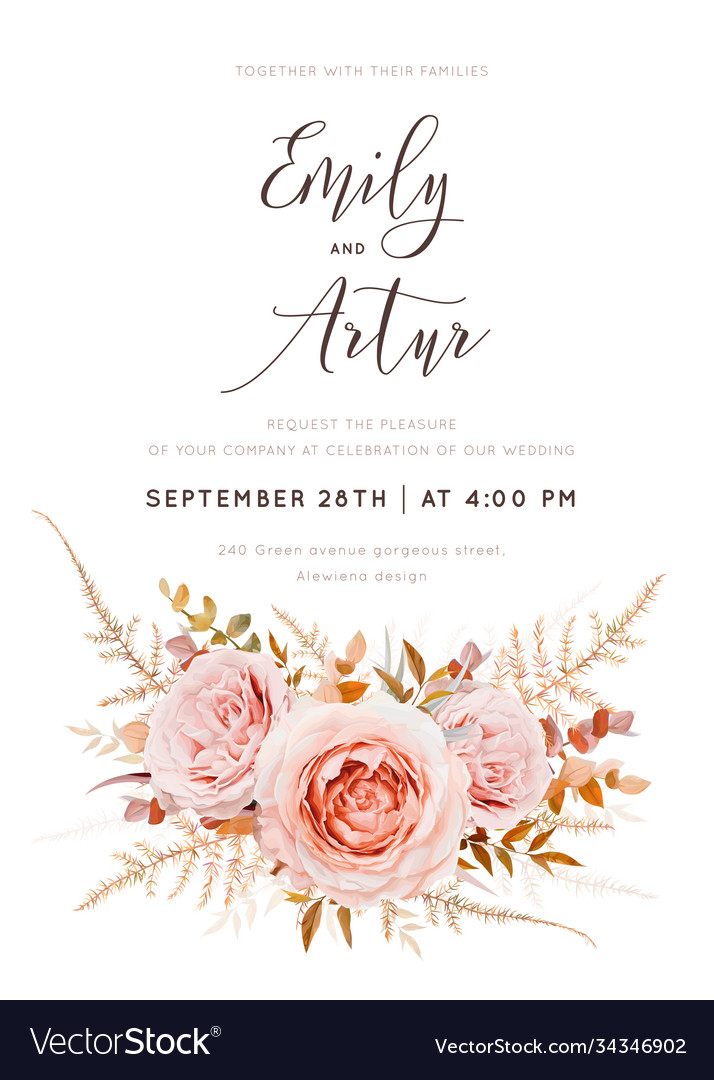 Fall floral watercolor style wedding invite card