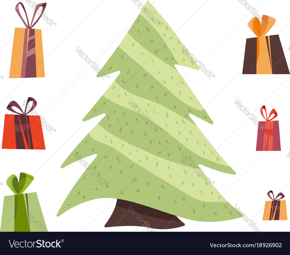 Gifts and christmas tree isolated vector image