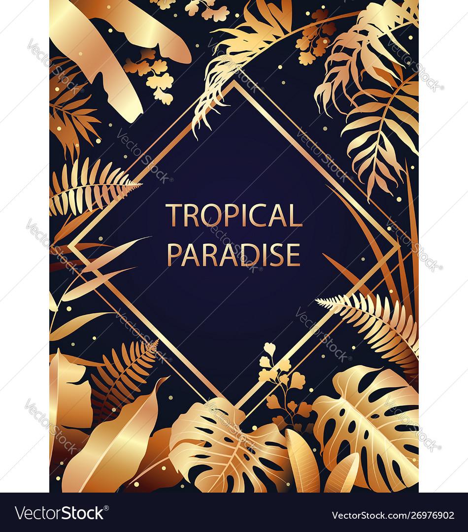 Golden tropical leaves border
