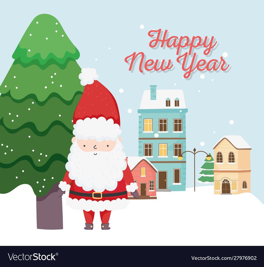 Happy new year 2020 celebration cute santa tree