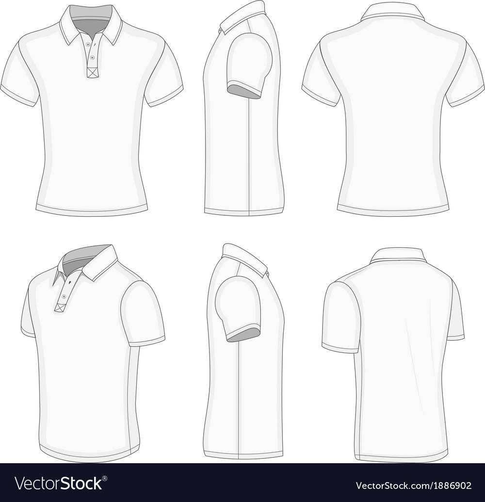 Mens White Short Sleeve Polo Shirt Royalty Free Vector Image