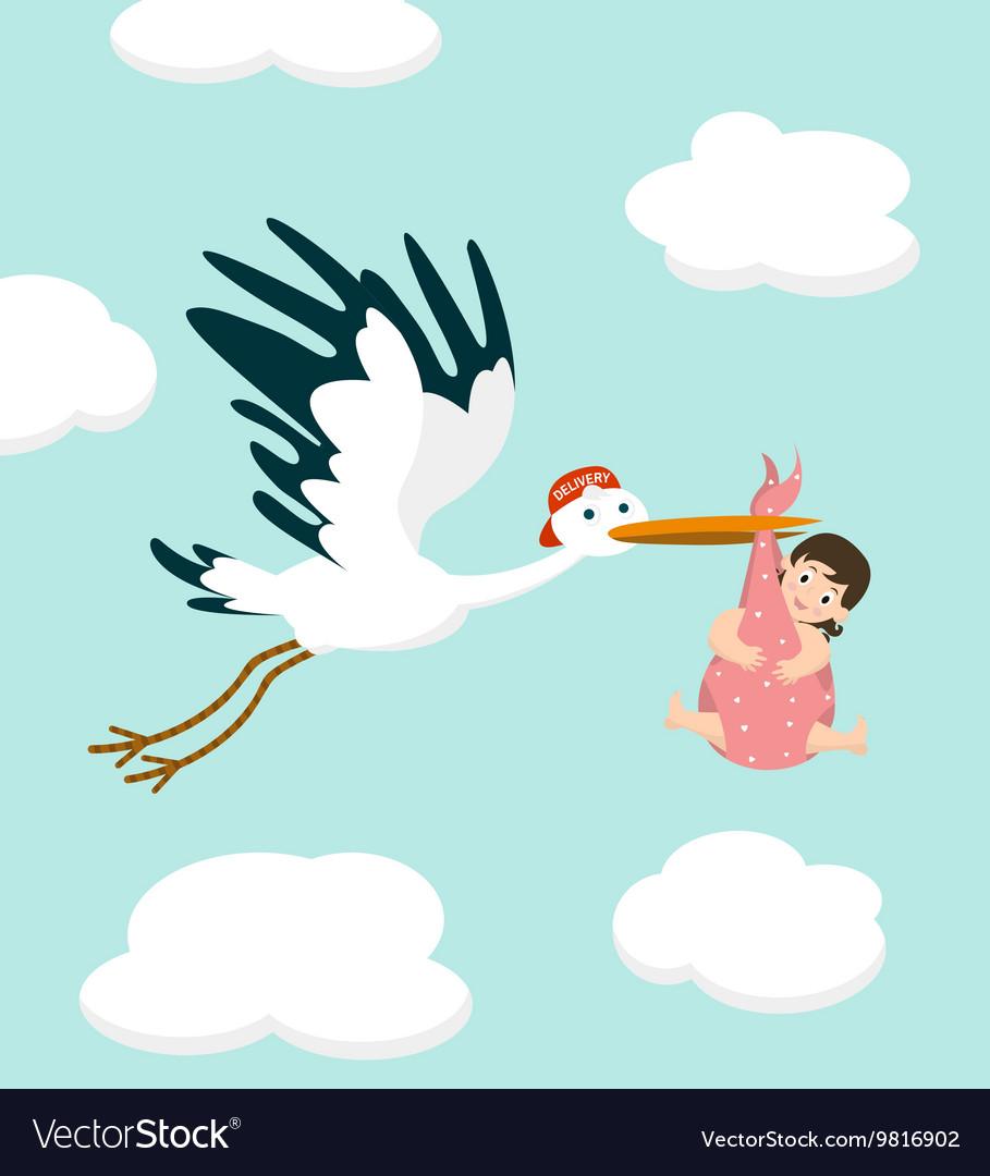 Stork carrying a cute baby girl Newborn baby