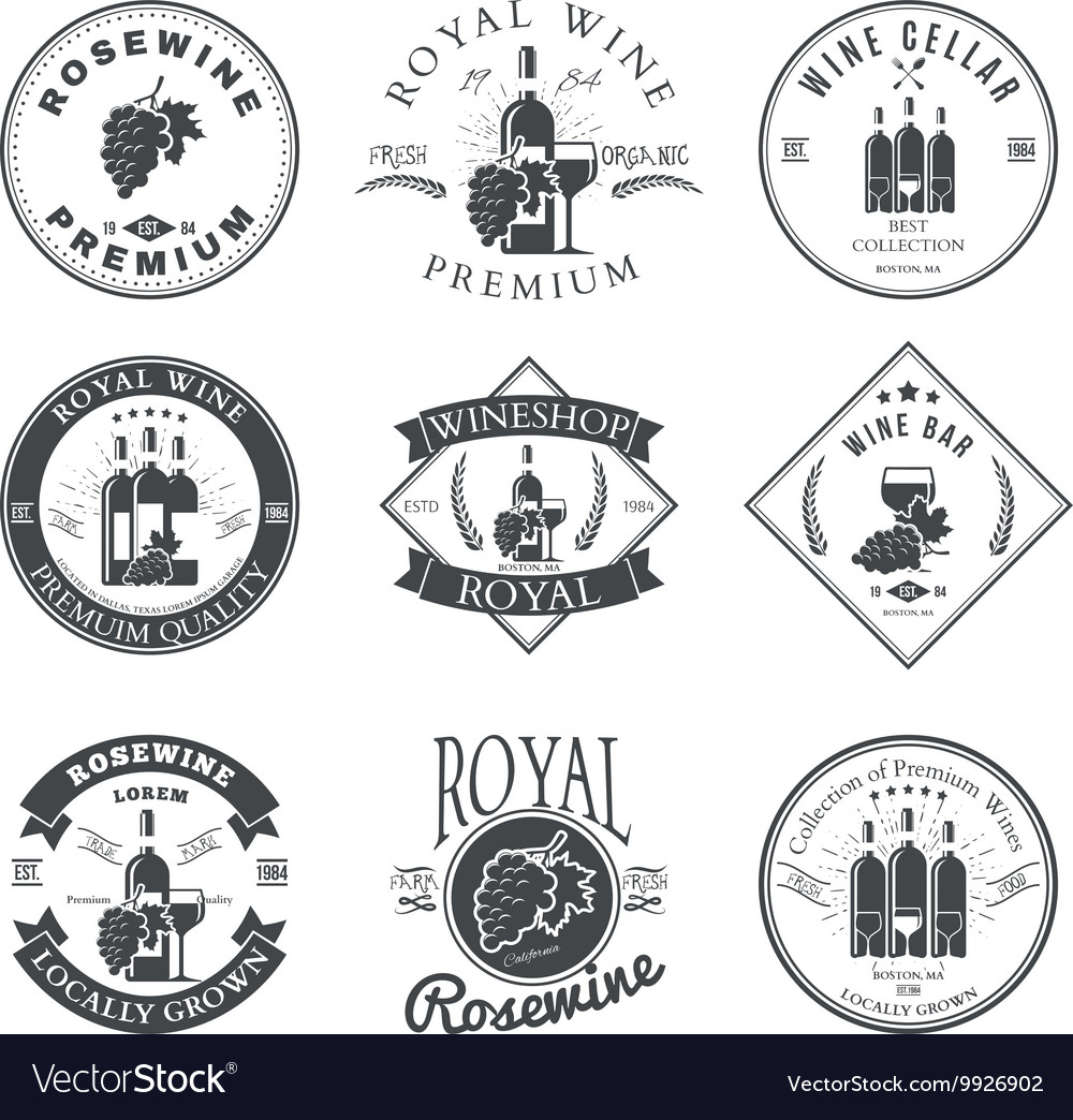 Wine club and restaurant emblems and labels set