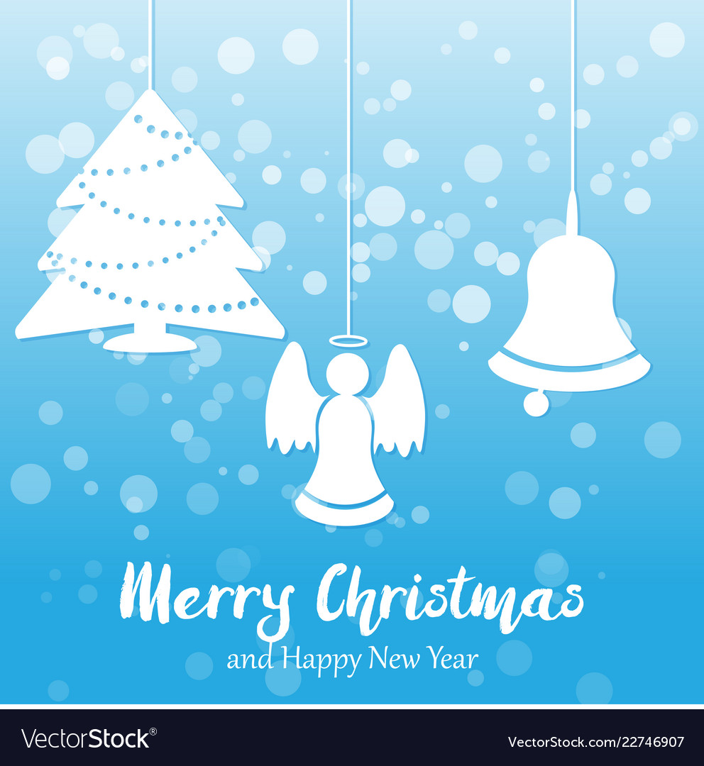 blue christmas and new year background vector image