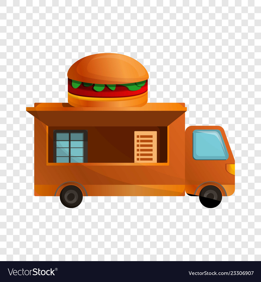 Burger truck icon cartoon style