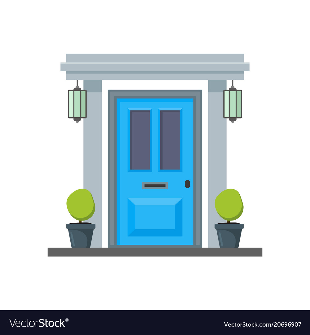 Cartoon Blue Front Door Of House Royalty Free Vector Image