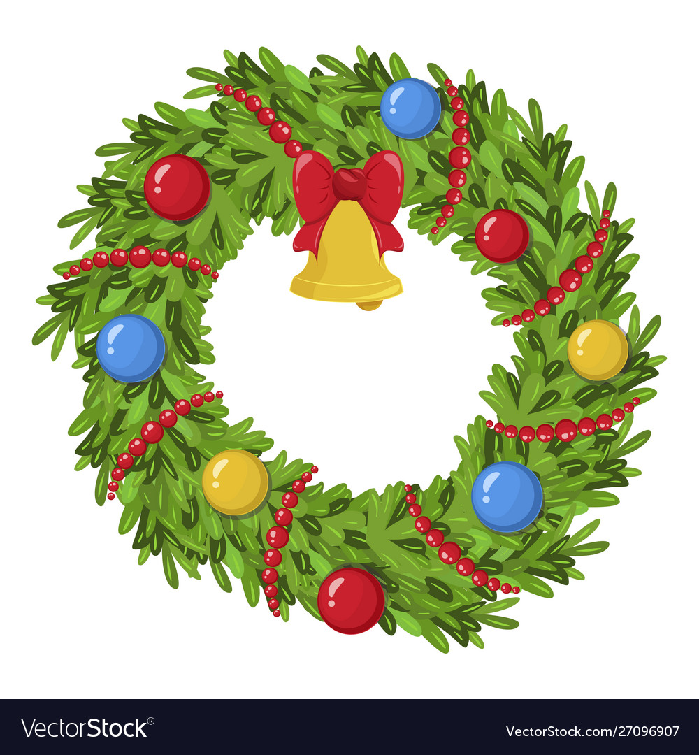 Christmas wreath icon traditional holiday bright