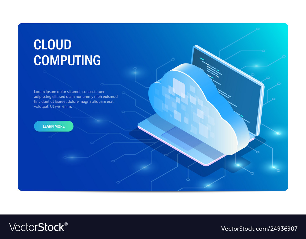 Cloud computing isometric concept laptop on the