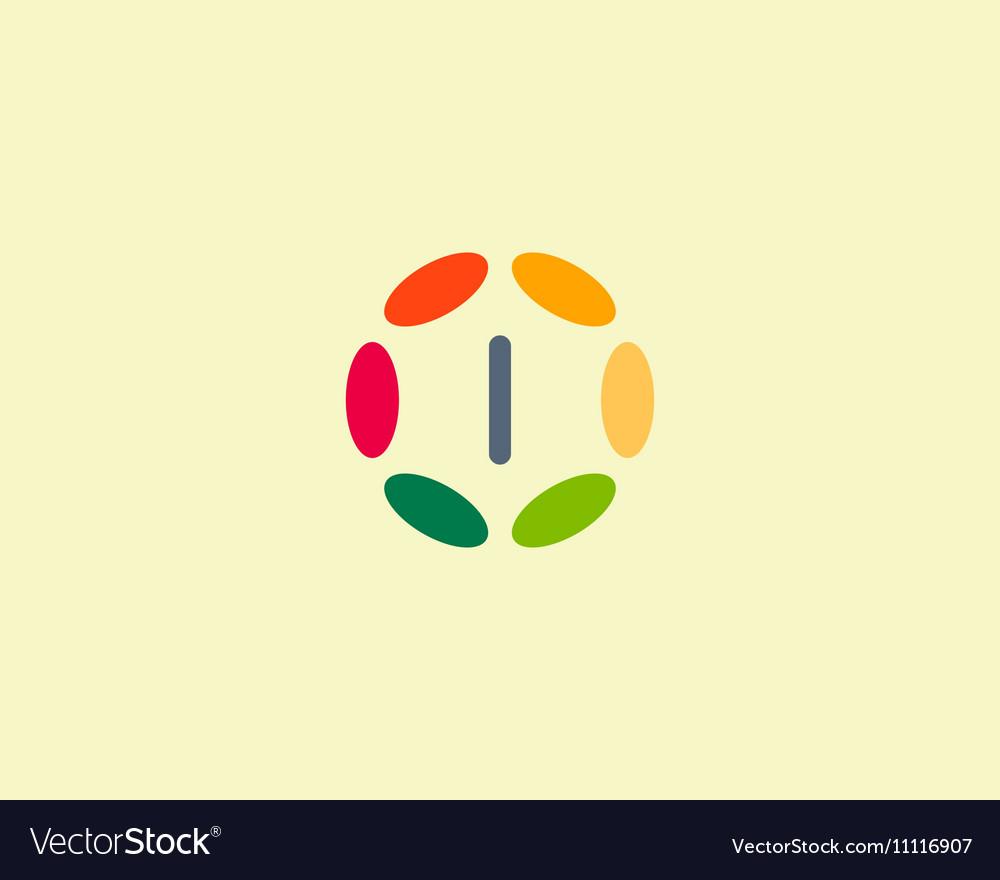 Color letter I logo icon design Hub frame