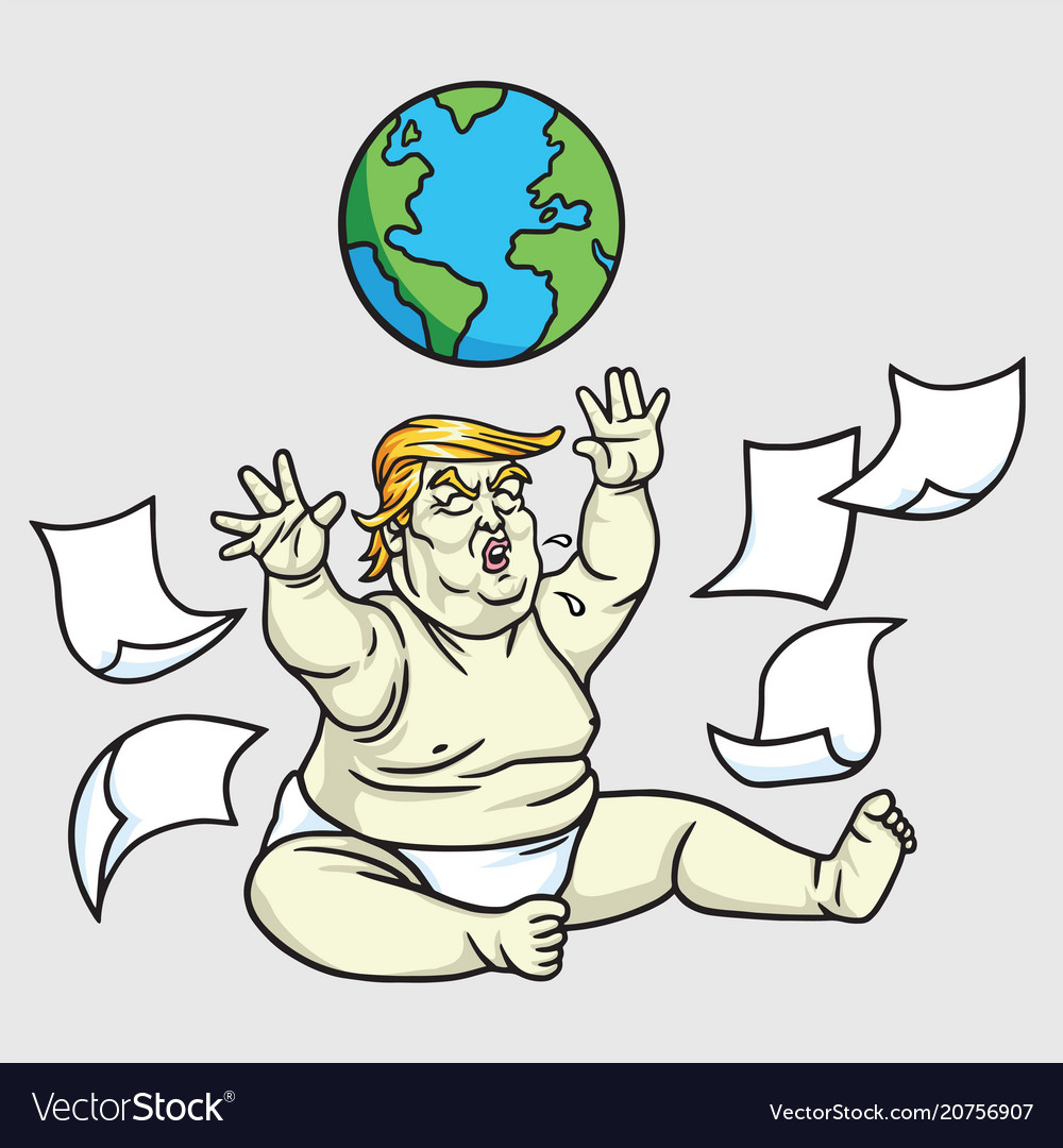 donald trump big baby playing globe messy papers vector image
