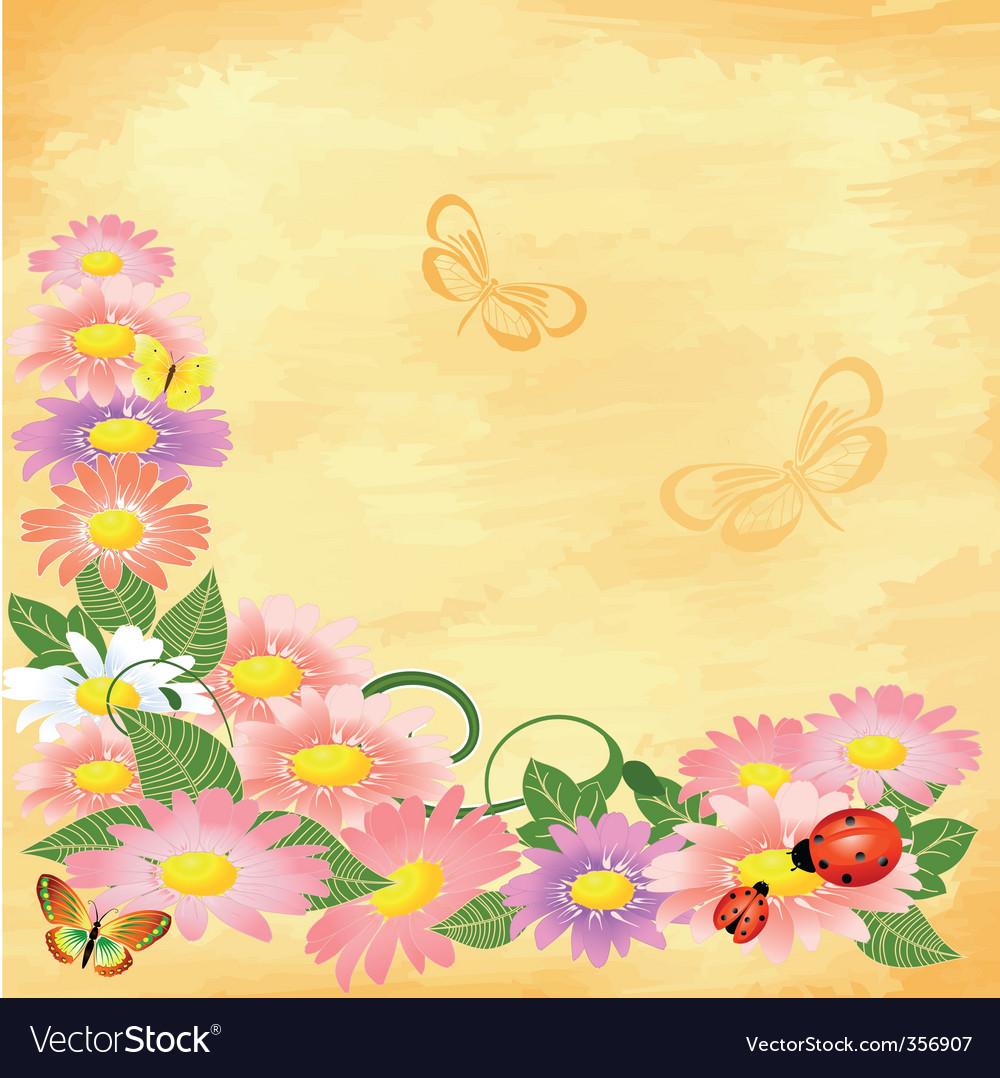 Floral corner on grunge background