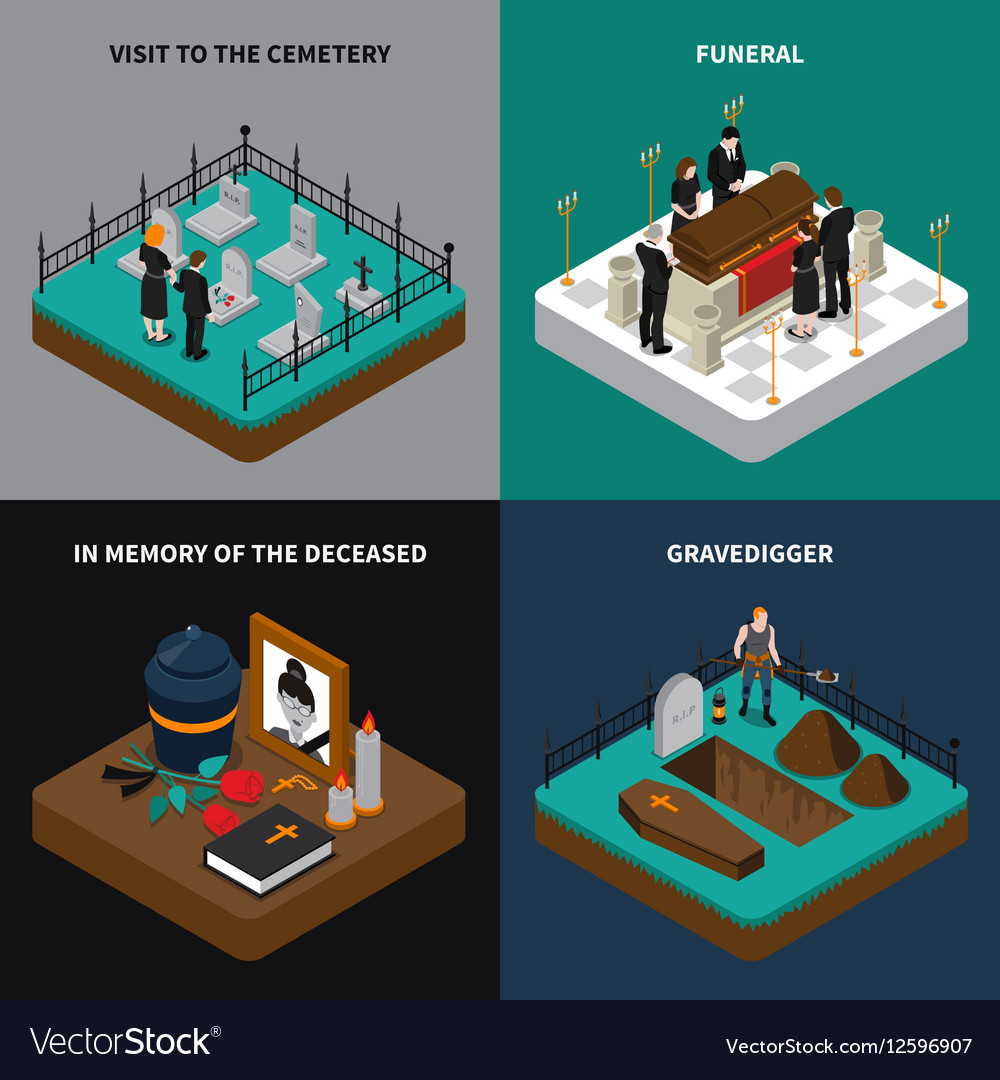 Funeral Isometric Concept vector image