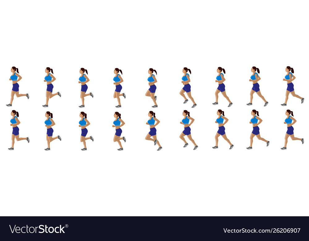Girl run cycle animation sequence loop animation vector