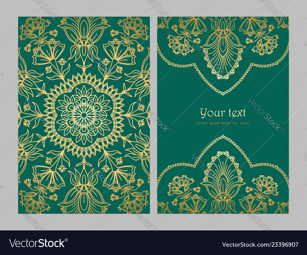 Greeting card golden ethnic patterns on green