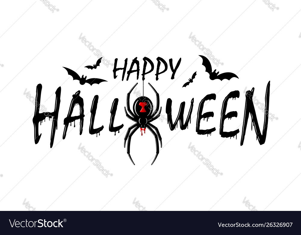 Happy halloween card drip text spider isolated