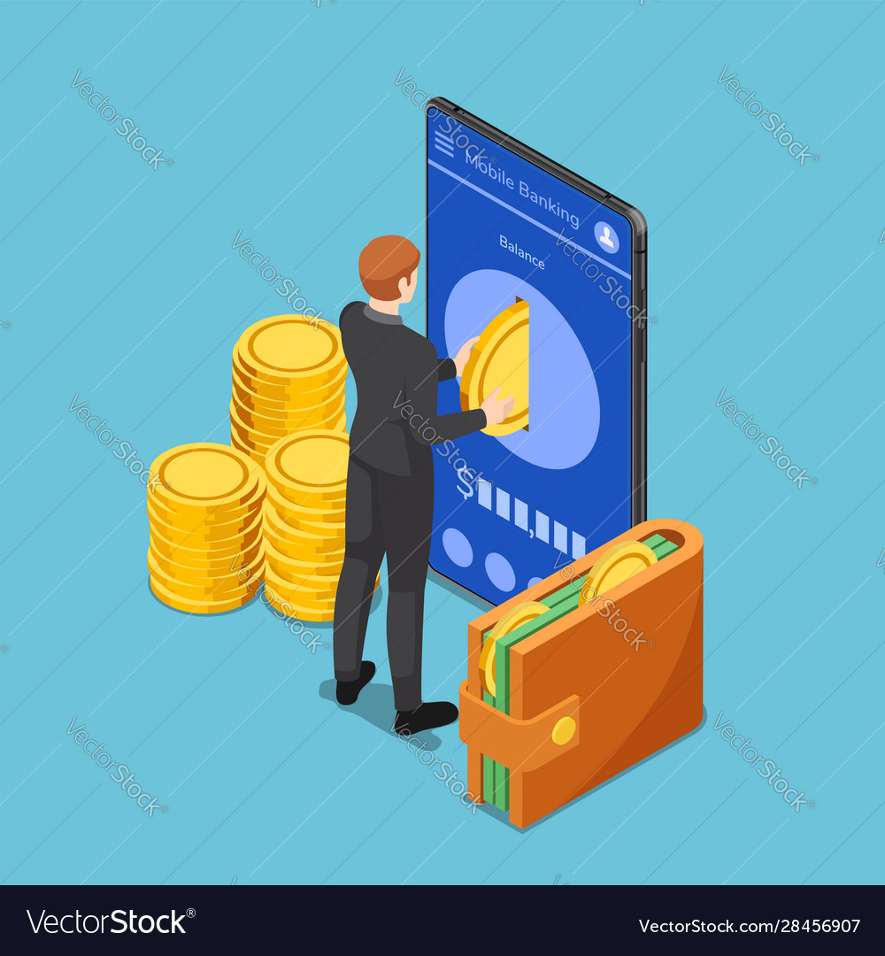 Isometric businessman put gold coin into