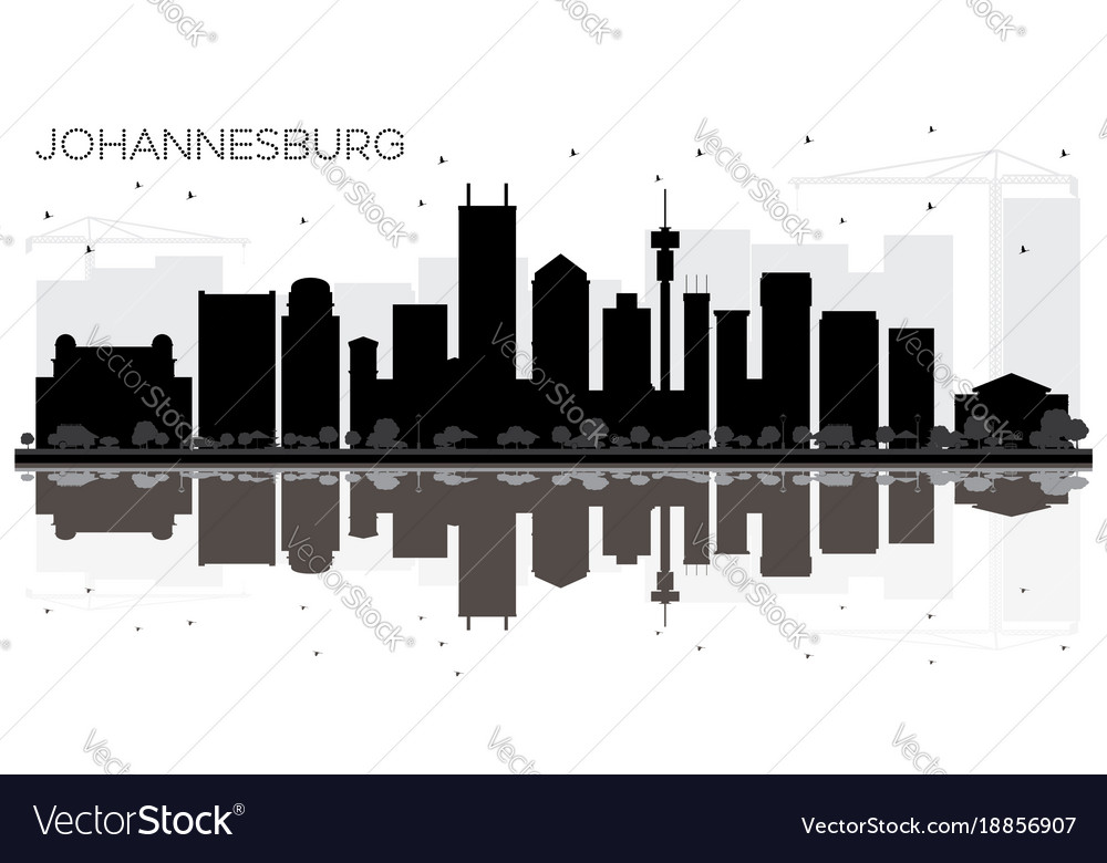 Johannesburg south africa city skyline black and vector image