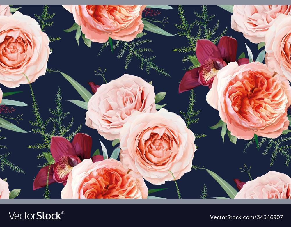 Seamless floral pattern textile peach navy blue