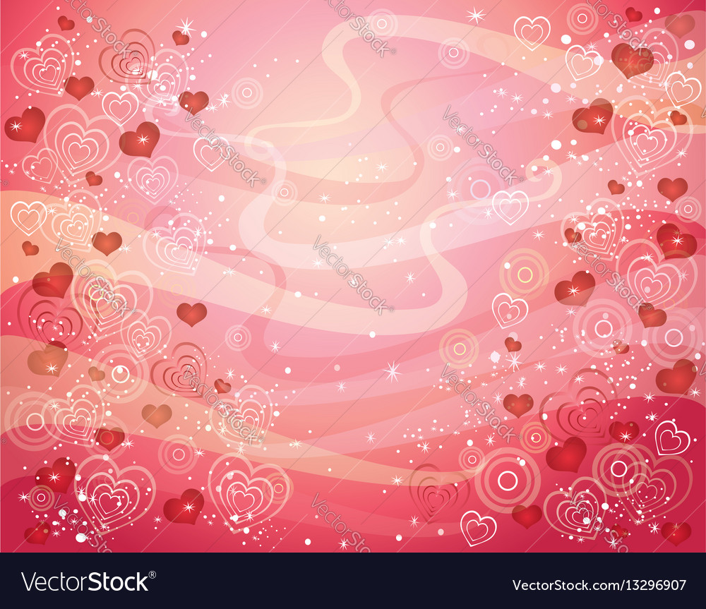 Valentins day background with hearts vector image