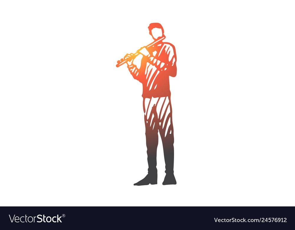 Flute musician man instrument play