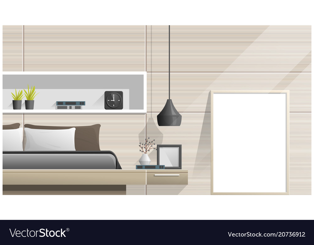 Mock Up Poster Frame In Bedroom Royalty Free Vector Image