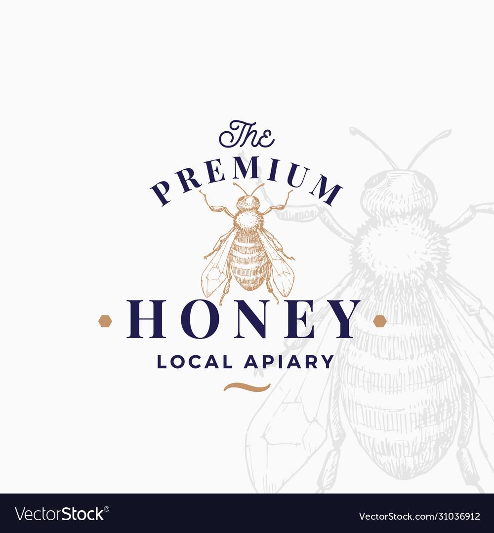 Premium quality honey sign symbol or logo