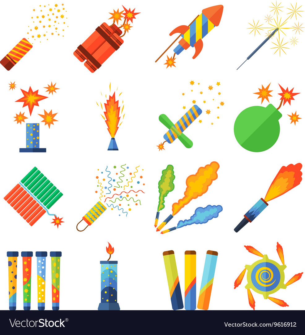 Pyrotechnics and fireworks set