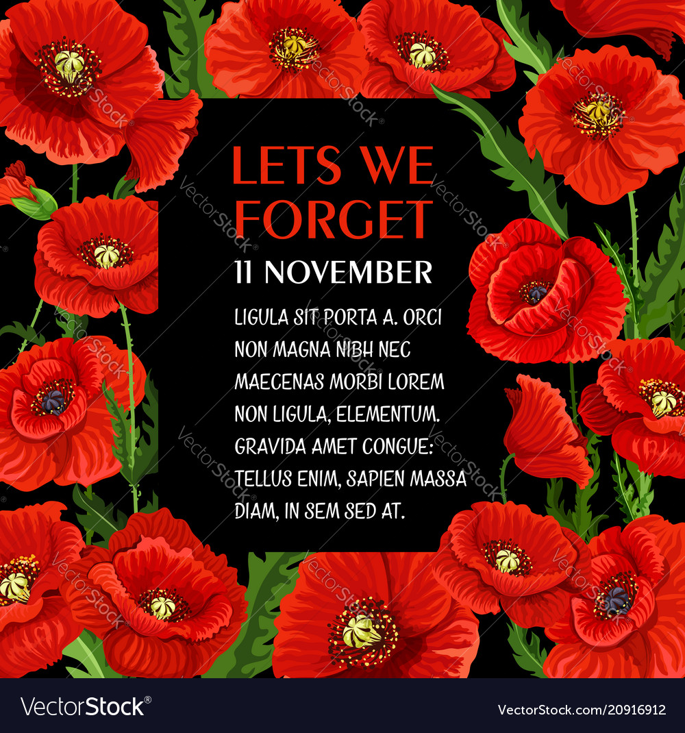 Remembrance Day 11 November Poppy Poster Vector Image