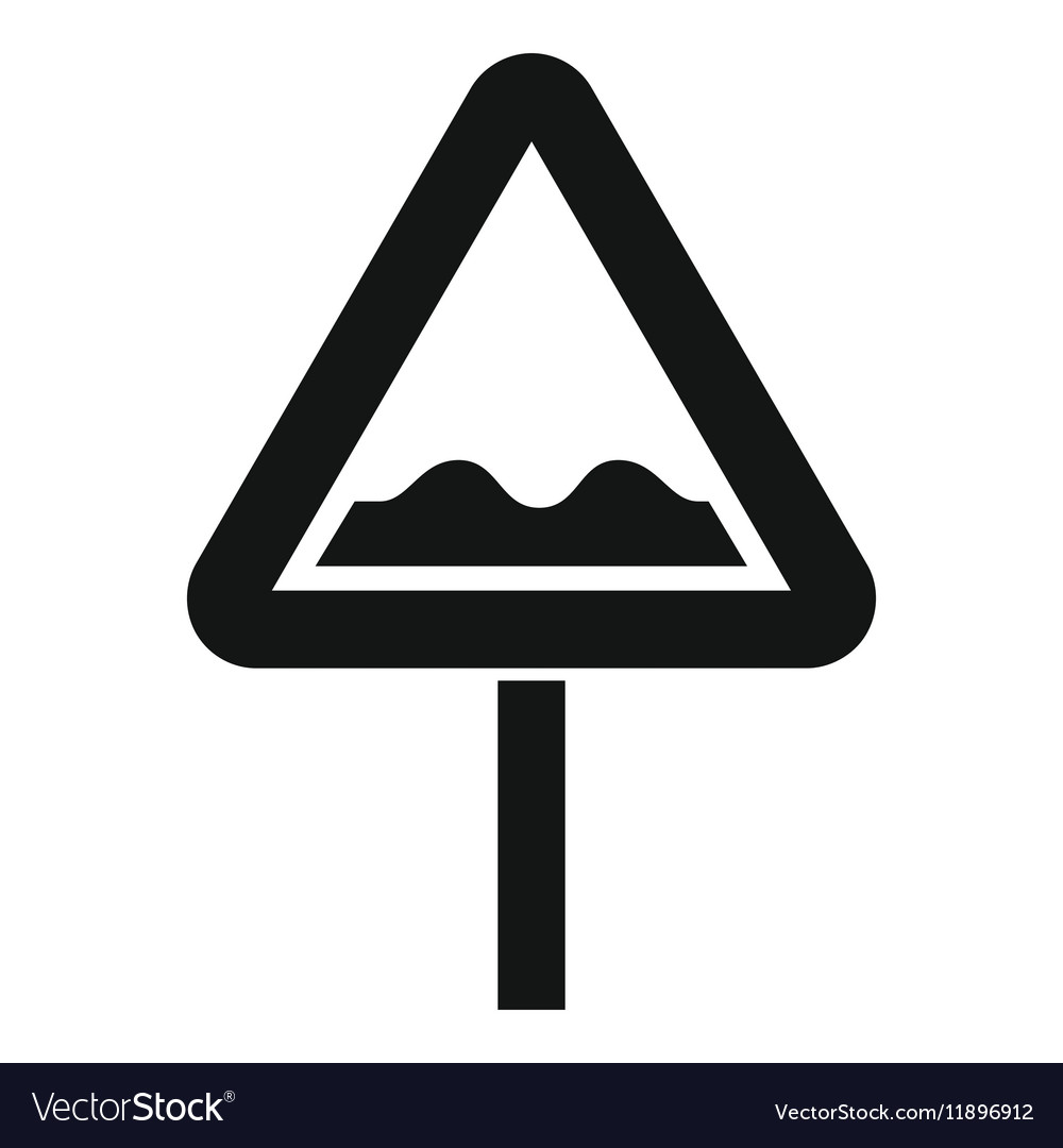 Uneven triangular road sign icon simple style